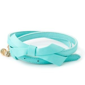 Lilly Pulitzer Shorely Blue Bow Tie Belt XS/S